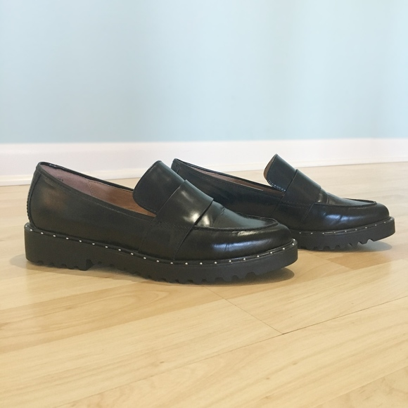 Halogen Emily Stud Leather Loafers Sz 6